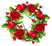 Wreath of roses and hearts Royalty Free Stock Photography