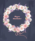 Wreath of roses and lavender. Illustration of wreath of roses and lavender Stock Photos