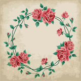Wreath of roses on old paper Stock Photos