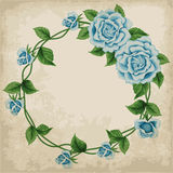 Wreath of roses on old paper Royalty Free Stock Images