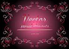 Wreath of Roses or Peonies Flowers with Gradient of Razzmatazz, Red, Pink, Antique Ruby Colors. Floral Frame Design Elements For. Invitations and Greeting Cards stock illustration