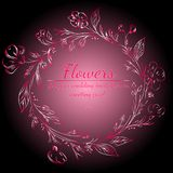 Wreath of roses or peonies flowers with gradient of razzmatazz, red, pink, antique ruby colors. floral frame fesign elements for. Wedding invitation and vector illustration