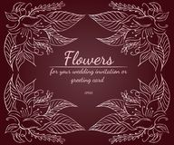 Wreath of roses or peonies flowers with rustic red, brown, chocolate and pale pink colors. Floral frame design elements for