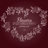 Wreath of roses or peonies flowers with rustic red, brown, chocolate and pale pink colors. Floral frame design elements for. Wedding invitation and greeting vector illustration