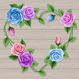 Wreath of roses on wood Royalty Free Stock Photos