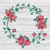 Wreath of roses on wood Royalty Free Stock Photography
