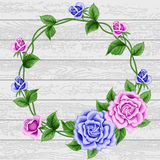 Wreath of roses on wood Stock Images