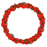 Wreath or Round Frame of Red Tomato. Fresh Ripe Vegetable. Healthy Vegetarian Menu. Hand Drawn Vector Illustration. Savoyar Doodle. Style Stock Photos