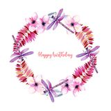 Wreath, round frame with watercolor purple dragonflies, pink flowers and branches Stock Photo