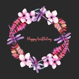 Wreath, round frame with watercolor purple dragonflies, pink flowers and branches Royalty Free Stock Photography