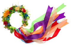 Wreath with satin ribbons, symbol of Ukrainian Stock Image