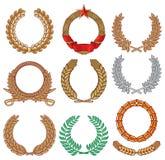 Wreath set. Wreath collection, laurel wreath, oak wreath, wreath of whea royalty free illustration