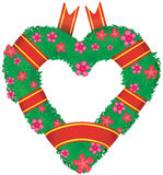 Wreath in the shape of a heart. Royalty Free Stock Photography