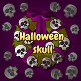 Wreath of skulls, Halloween decoration on the door Royalty Free Stock Photo