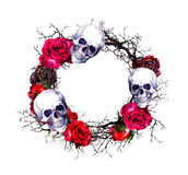 Wreath - skulls, red roses, branches. Watercolor Halloween grunge border Stock Photo