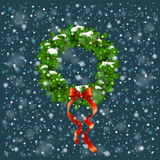 Wreath With Snow. Colorful Photo Realistic Vector Christmas Wreath With Snow Royalty Free Stock Photography