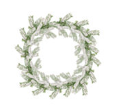 Wreath of snow-covered branches of Christmas tree isolated on wh Stock Images