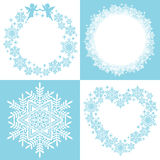 Wreath of snow crystal. Set for round and heart snow decoration. Vector illustration Royalty Free Illustration