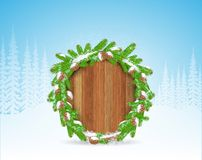 Wreath from snowy fir tree branch and cones on round wood border. Winter forest christmas horizontal background. With snowflakes royalty free illustration