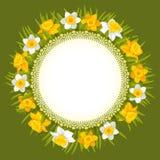 Wreath of spring flowers stock illustration