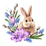 Wreath with spring flowers and little rabbit, Hand drawn watercolor illustration, isolated on white background