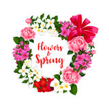 Wreath of spring flowers and vector bouquets Stock Photos