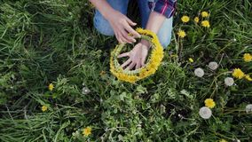 Wreath of spring yellow flowers in the hands of the girl. A Woman created dandelion wreath and checking it. Top view. Close up 4k stock video
