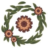 Wreath With strange red scarlet flowers and green dark leaves awful stock illustration
