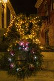 Wreath and strings of lights in Wickford stock photography