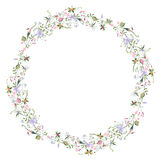 Wreath with stylized summer flowers Stock Images