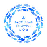 Wreath. Summer background. Watercolor wreath made from blue fishes. Banner with messages and symbols Royalty Free Stock Photography