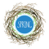 Wreath with tree branches, bird's nest, symbol of the house. Stock Images