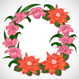 Wreath with tropical flowers and leaves. Exotic floral botanical background. Royalty Free Stock Photography