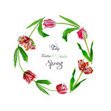 Wreath with tulips-02 stock illustration