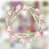 Wreath with tulips-04 Royalty Free Stock Photo