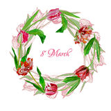 Wreath with tulips-04 Stock Image