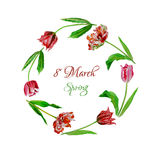 Wreath with tulips-01 stock illustration