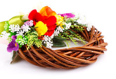 Wreath of twigs and flower composition Stock Photo