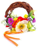 Wreath of twigs and flower composition Royalty Free Stock Photo