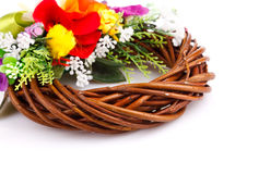 Wreath of twigs and flower composition Royalty Free Stock Images