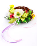 Wreath of twigs and flower composition Royalty Free Stock Image