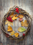 Wreath of twigs on an old wooden door with autumn berries and a Royalty Free Stock Image