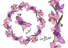 Wreath and vertical endless border made of different orchids. Stock Photography