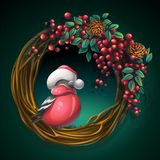 Wreath of vines with ash berry and bullfinch. Vector cartoon illustration wreath of vines and leaves on a green background with ash berry and bullfinch Stock Images