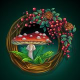 Wreath of vines and leaves with amanita mushroom. Vector cartoon illustration wreath of vines and leaves on a green background with ash berry, cedar cones Royalty Free Stock Photo