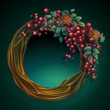 Wreath of vines and leaves with ash berry and cedar cones. Vector cartoon illustration wreath of vines and leaves on a green background with ash berry and cedar Stock Images