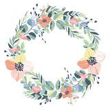 Wreath of vintage flowers on a white background. Vector stock illustration