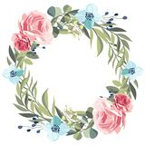 Wreath of vintage pink roses on a white background. stock illustration