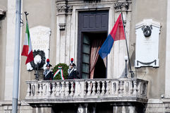 Wreath for war dead. During the ceremony of the Italian armed forces Royalty Free Stock Image
