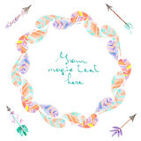Wreath of watercolor abstract feathers and romantic arrows. Wreath of abstract feathers and romantic arrows painted with watercolors on a white background Stock Photo